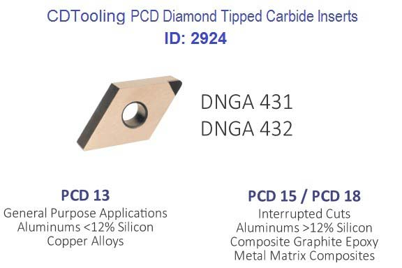 DNGA 431 432  PCD13 PCD15  PCD18 PCD Diamond Tipped Carbide Inserts ID 2924