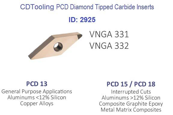 VNGA 331 332 333 PCD13 PCD15  PCD Diamond Tipped Carbide Inserts ID 2925-