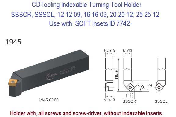 SSSCR, SSSCL, 12 12 09, 16 16 09, 20 20 12, 25 25 12 Indexable Turning Tool Holder Use with  SCFT Insets ID 7742-