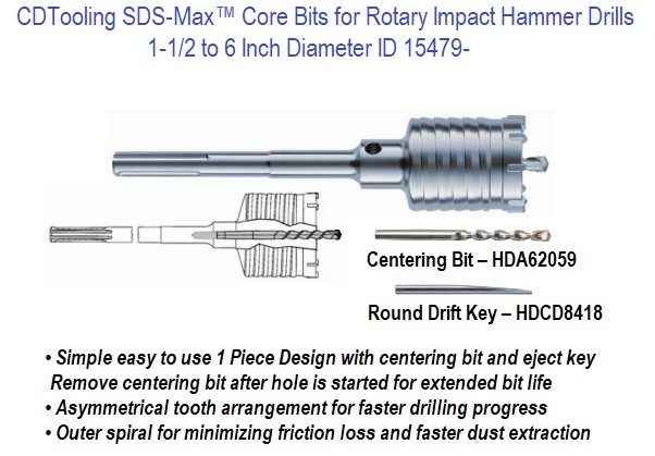 SDS-Max Core Bits for Rotary Impact Hammer Drills  1-1/2 to 6 Inch Diameter ID 15479-