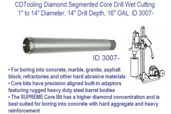 Diamond Segmented Core Bits Wet Cutting 1 to 14 Diameter 14 Inch Drill Depth ID 3007-