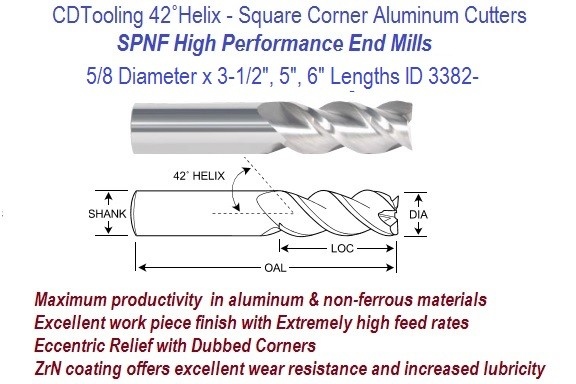.625 5/8 Diameter x 3-1/2, 5, 6 Inch Length HP End Mills For Aluminum and Non-Ferrous ID 3382-