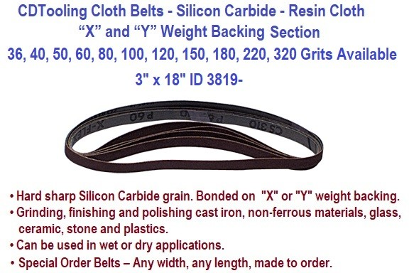3 x 18 Inch Silicon Carbide Resin Cloth Belts 36, 40, 50, 60, 80, 100, 120, 150, 180, 220, 320 Grit 20 Pack ID 3819-
