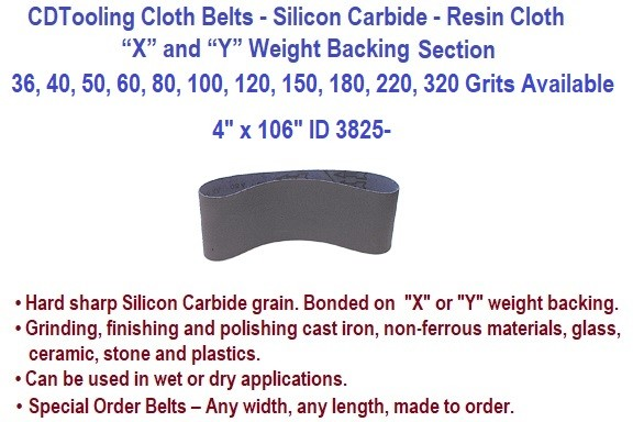 4 x 106 Inch Silicon Carbide Resin Cloth Belts 36, 40, 50, 60, 80, 100, 120, 150, 180, 220, 320 Grit 10 Pack ID 3825-