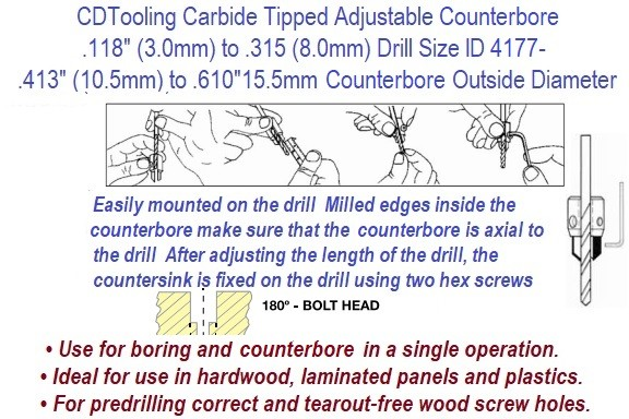 180 Degree Adjustable Counterbore .118 (3mm) to .315 (8mm) Drill Diameter .413 (10.5mm) to .610 (15.5mm) Counterbore Diameter ID 4177-