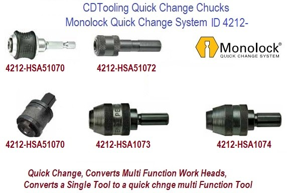 Quick Change Monolock Chuck Adaptors, 1/4, 3/8, 7/16 Hex Shank Convert Power tools to Multi Function Tools 10 Packs ID 4212-