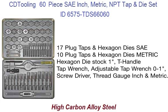 4-40 TO 1/2 M3-M12 1/8 Pipe Tap and Die Set 60 Piece UNC, UNF, SAE, Metric, NPT  in Metal Case ID 6575-TDS66060