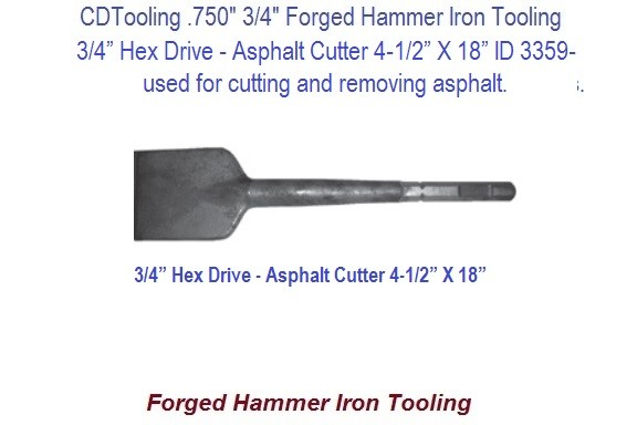 Asphalt Cutter 4-1/2 Inch Wide 3/4 Hex Shank Forged Hammer Iron Tool 15 Inch Long ID 3359-