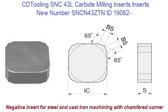 SNC 43L  / SNCN43ZTN Negative square Carbide insert for steel and cast iron machining 10 Pack ID 19062-