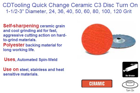 Abrasive Quick Change C3 Ceramic Turn On Disc 1-1/2