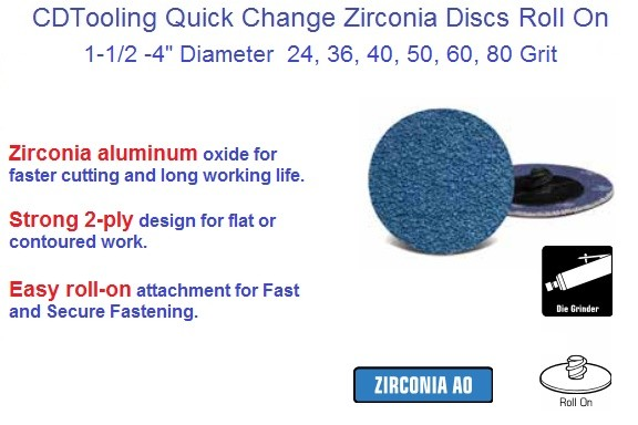 Abrasive Quick Change Disc Zirconia Roll On 1-1/2, 2, 3 ,4