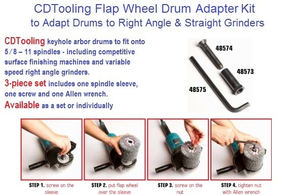 Abrasive Drum Adapter Kit, Adapts to Right Angle and Straight Grinders 5/8-11 ID 1948-