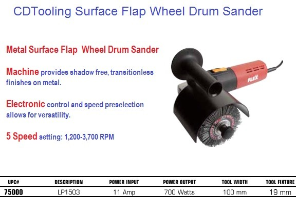 Drum Sander Metal Surface Flap  Wheel 5 Speed setting: 1,200-3,700 RPM