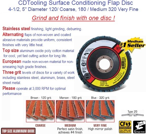 Flap Disc Interleaf, Coarse Medium Very Fine, 4-1/2, 5