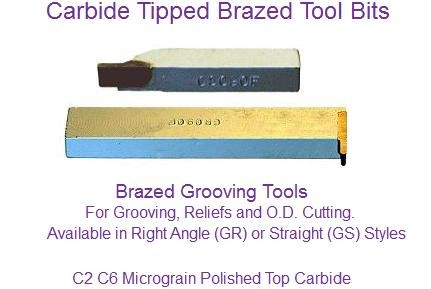 Carbide Tipped Brazed Grooving Tools GS Square GR Full Radius .012 - .125