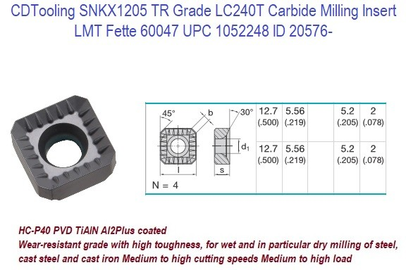 SNKX1205 TR Grade LC240T Carbide Milling Insert 1 Lot 28 Pieces ID 20576-