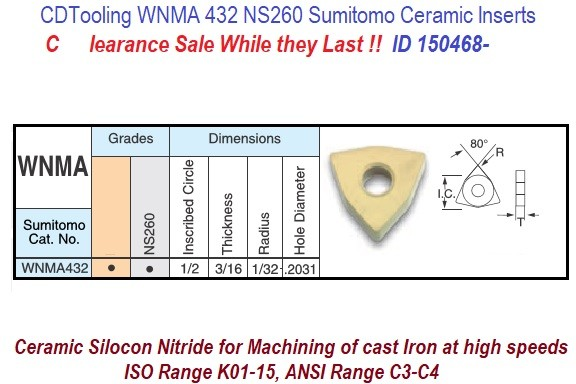 WNMA432. WNMA080408, NS260 Ceramic Inserts Silicon Nitride for Cast Irons 10 Pack ID 150468-