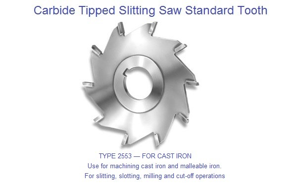 Carbide Tipped Slitting Saw Use for machining cast iron and malleable iron