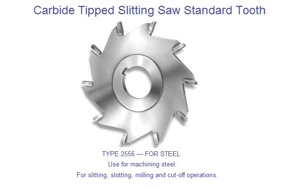 Carbide Tipped Slitting Saw Standard Tooth Use for machining steel ID 1254-