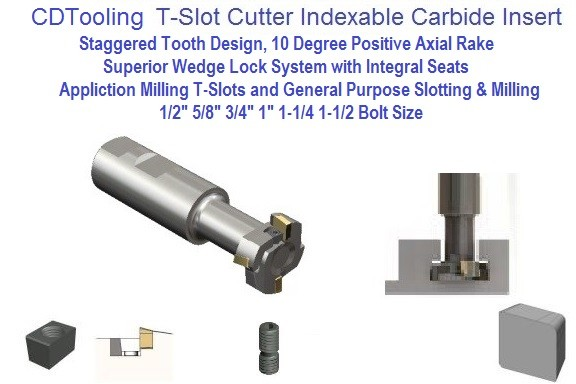 Indexable Carbide Insert TSC, T-Slot Milling Cutter For 1/2, 5/8, 3/4, 1, 1-1/4, 1-1/2 Inch Bolt Size ID 1099-