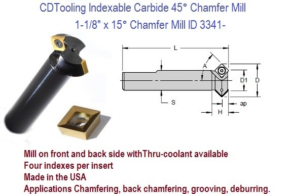 15 Degree Chamfer Mill 1.12 1-1/8 Inch Diameter ANG-080 Indexable Chamfer Mill ID 3341-