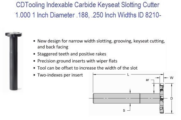 1.0 Inch Diameter .188, .250 Inch Widths Carbide Indexable Keyseat Slotting Cutter ID 8210-