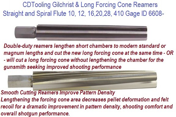 Gilchrist and Long Forcing Cone Reamers Spiral, Straight Flute 10, 12, 16, 20, 28, 410 Gage ID 6608-