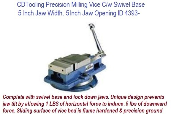 5 Inch Jaw Width, 5 Inch Jaw Opening Precision Milling Vice C/w Swivel Base ID 4393-850-500