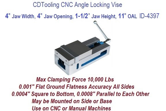 4 Inch Jaw Width, 4 Inch Jaw Opening Precision Milling Vice ID 4397-850-AP04