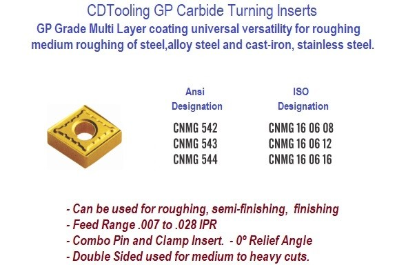 CNMG 542, CNMG 543, CNMG 544 GP Grade Indexable Carbide Inserts 10 Pack ID 12701-