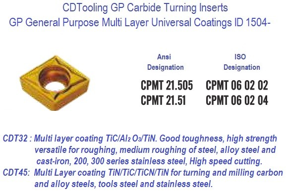 CPMT 21.505 CPMT21.51 GP Grade Indexable Carbide Inserts 10 Pack ID 1504-