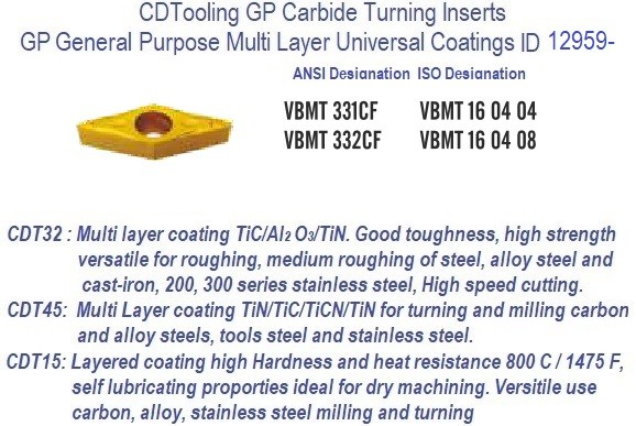 VBMT -, 331CF, 332CF, 160404, 160408, GP Grade Indexable Carbide Inserts 10 Pack ID 12959-