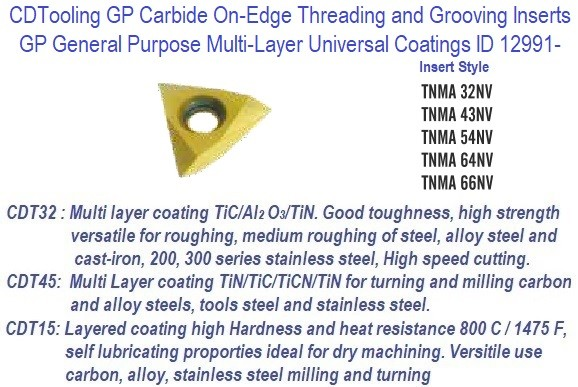 TNMA-, 32, 43, 54, 64, 66 NV - GP Grade Indexable Carbide Inserts 10 Pack ID 12991-