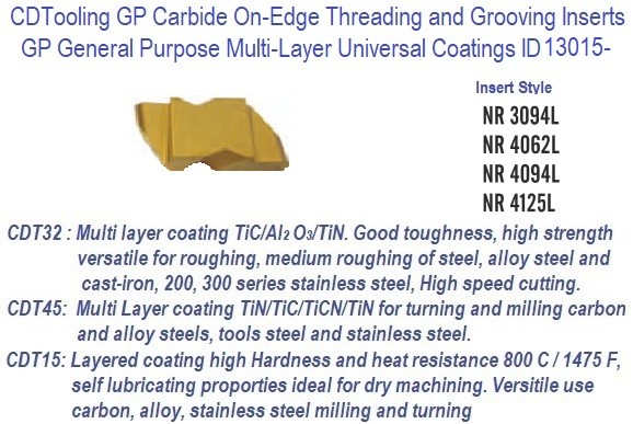 NR - Left Hand,- 3094L, 4062L, 4094L, 4125L - GP Grade Indexable Carbide Inserts 10 Pack ID 13015-