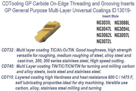 NG - Left Hand,- 3031L, 3047L, 3062L, 3072L, 3088L, 3094L, 3097L - GP Grade Indexable Carbide Inserts 10 Pack ID 13019-