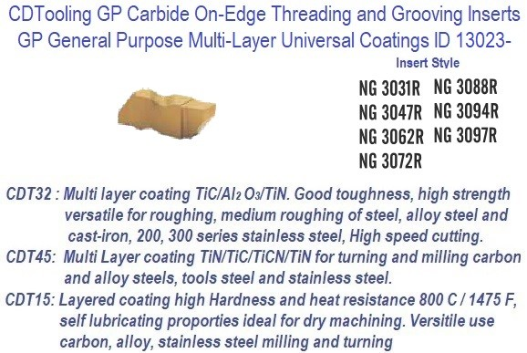 NG - Right Hand,- 3031R, 3047R, 3062R, 3072R, 3088R, 3094R, 3097R - GP Grade Indexable Carbide Inserts 10 Pack ID 13023-