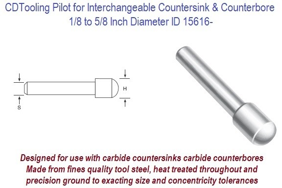 Pilots for Stop Counterbores and Countersinks 1/8 to 5/8 Inch Diameter ID 15616-