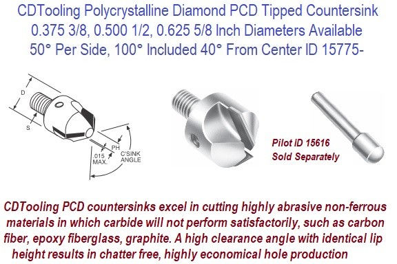 50 Per Side, 100 Included 40 From Center, Degree, Polycrystalline Tipped Diamond PDC Tipped Interchangeable Pilot Stop Countersink ID 15775-