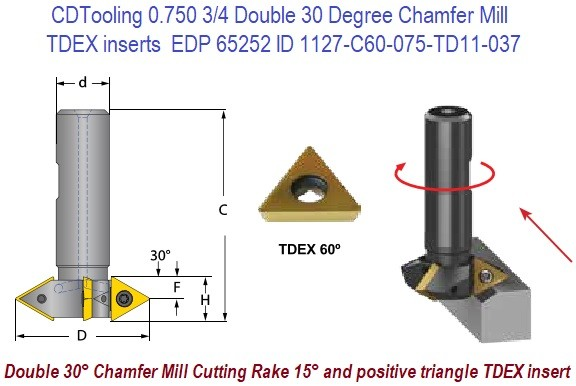 0.750 3/4 Double 30 Degree Chamfer Mill Uses TDEX inserts EDP 65252 C60-075-TD11-037 ID 1127-