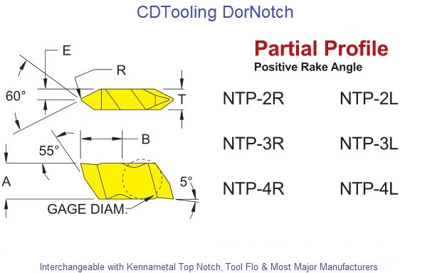 Carbide Threading Insert NTP-2, NTP-3, NTP-4, L / R  60 Degree Partial Profile Positive Rake DorNotch Interchageable with Kennametal Top Notch