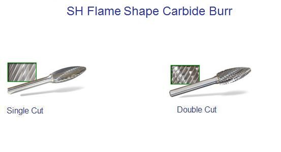 SH - Flame Shape - Carbide Burrs  ID 1681-