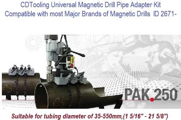 PAK.250 (Replaces PAK100, PAK200)  Magnetic Drill Pipe Adapter Kit, Suitable for tubing diameter of 35-550mm, 1 5/16 - 21 5/8 Inch Diameter Series 2671-