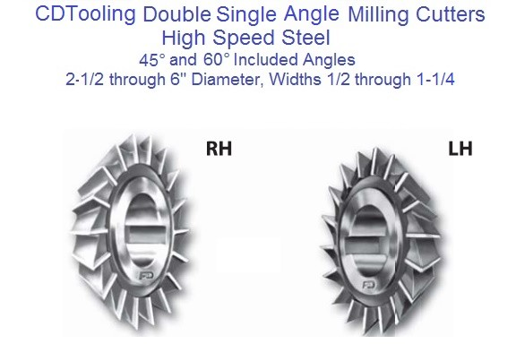 Single Angle Milling Cutter HSS 2-1/2 to 6 Inch Diameter,1/2 ,5/8 ,3/4 ,1 ,1-1/4 Wide,45 and 60 Degree ID 1700-