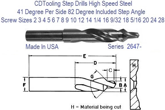 Step Drill 82 Degree Included Step Angle 3/16 - 3/4, 2-24 Screw Sizes Series 2647-