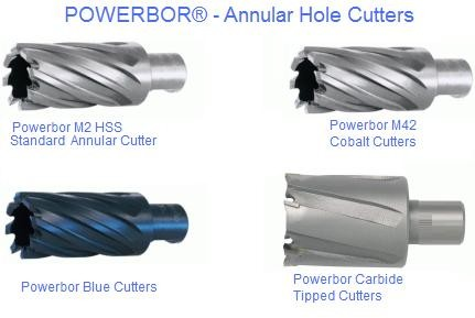 Annular Cutters Powerbor HSS, Cobalt, Carbide Tipped  ID 1090-