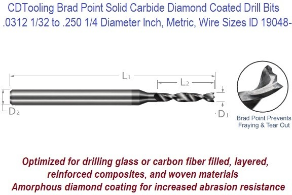 .0312 1/32 to .250 1/4 Diameter Inch, Metric, Wire Sizes Brad Point Solid Carbide Diamond Coated Drill Bits ID 19048-