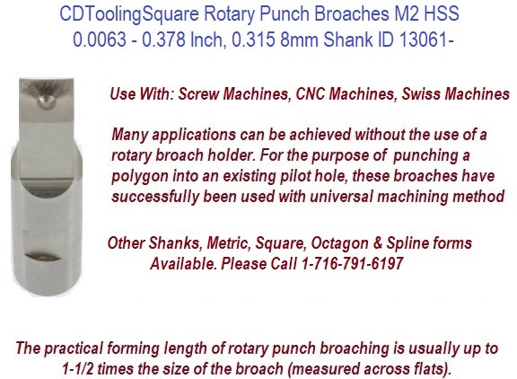 Square Rotary Punch Broaches M2 HSS 0.0095 - 0.630 Inch, 0.500 Shank ID 13063-