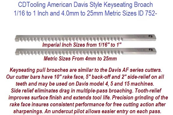 American Davis Style Keyseating Broach 1/16 to 1 Inch and 4.0mm to 25mm Metric Sizes ID 752-