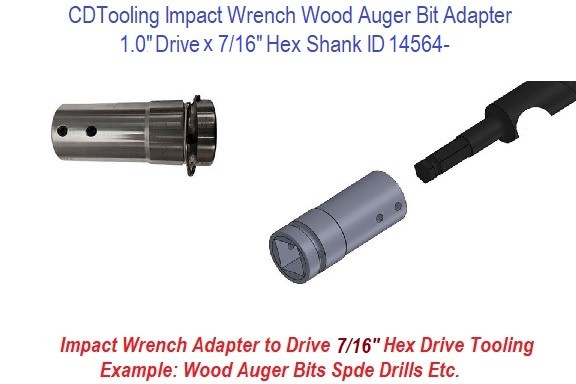 Impact Wrench Wood Auger Bit Adapter 1 Drive X 7/16 Hex Shank ID 14564-