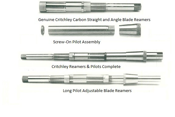Adjustable Critchley Blade Reamers, Long Pilot, Screw on Pilot Assembly